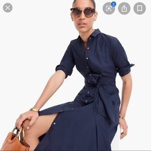 J.crew Navy Midi Shirt Dress with Sash